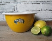 Yellow Enamel Bowl Vintage Vollrath Original Label