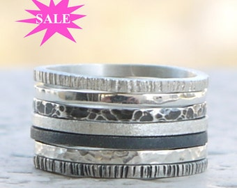 Silver rings set of 7 made of sterling silver, silver bands set, hammered silver ring, Silver skinny stacking rings. SALES 15%OFF