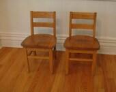 Antique Oak Child's School Chair