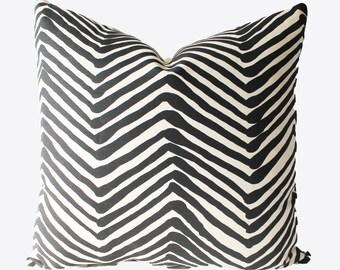 Decorative Zig Zag, Designer Alan Campbell, Quadrille Black Throw Pillow, 18 x18, Throw Pillow