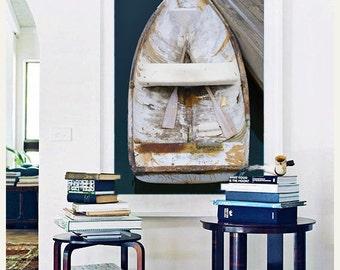 Framed Art, Rowboat Photo, Boat Print, Nautical Decor Beach Decor Bar Harbor Maine Coastal Artwork Oversize Photograph Navy Blue White Beige