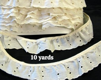 Eyelet Ruffle Trim, Ivory Cream Lace Off White Trimming Edging Sewing Supplies