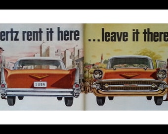 1957 Chevy Front Back Classic Car Illustraion for Hertz.  2 page ad.  Cool Graphics.  Ready for Framing.
