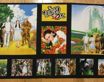 "Wizard of Oz Fabric PANEL 44"" x 22"" Tin Man, Lion, Scarecrow and Dorothy"