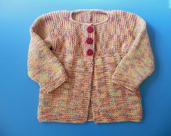 Made to Order baby handknitted cotton sweater - 18 months+ toddler / child cotton cardigan