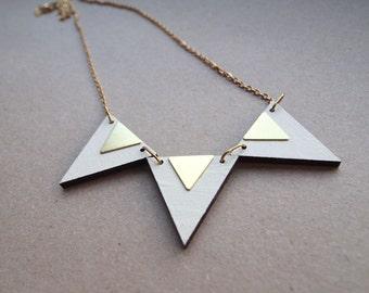 Triple Triangle necklace - in vanilla & gold