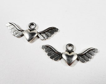 Winged Heart Charms 28x11mm Antique Silver Metal Heart with Wings Charm Flying Heart Pendant Valentine's Day Charms for Jewelry Making 10pcs