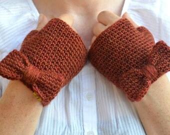 Knit bow mittens, crochet fingerless gloves, copper orange wristwarmers
