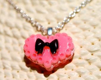 Cute Baby Pink Heart Cake Pendant By MillyPops - Kawaii, Fairy Kei, Lolita, Princess, Kitsch