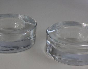 Two Cupido Sormus tea light holders by Muurla glass Finland