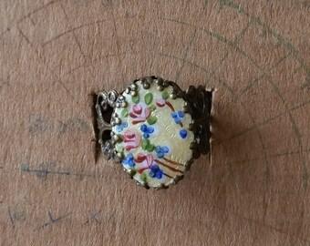 SALE ring with vintage enamel