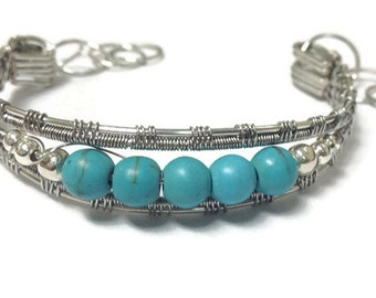 Turquoise Wire Wrap Cuff Style Bracelet/ Silver with Turquoise Bracelet/ Wire Wrap Wire Weave Bracelet/
