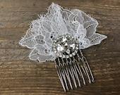 Larken, Chantilly lace wedding hairpiece with rhinestone embellishment