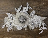 Parker lace hair accessory with silver rhinestones, handmade lace wedding hairpiece