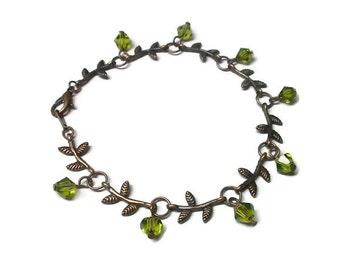 Copper Leaf Bracelet with Olivine Crystals