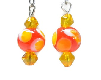 Lampwork Earrings in Red, Yellow and White with Yellow Glass Beads