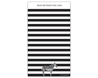 "Funny Zebra Read Between The Lines Black and White Stripes Magnetic Paper Notepad Grocery Shopping List with Magnet 50 Sheets 4.25"" x 7.5"""