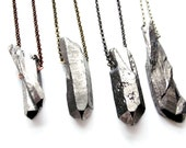 Raw Crystal Silver Titanium Quartz | Sterling Silver, Silver-Plated, Gunmetal, Antiqued Brass or Copper Chain