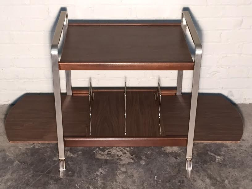 Mid Century Record Player Stand Cart Vintage Mad Men