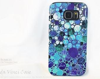 Blue Abstract Galaxy S6 Case - Blue Bubbles - TOUGH dual layer S 6 Case by Da Vinci Case