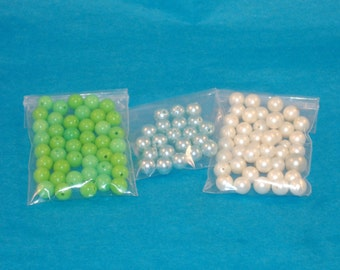 Vintage Acrylic Colored Pearls - White Pearl, Light Blue Teal, Lime Green - 8mm Round Beads - Total 104 Beads - DESTASH