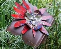 Huge Metal Flower Yard Art, Red Blue Rust, Salvaged Recycled Indoor Outdoor Wall Art, Primitive Folk Garden Stake, Stainless Spoons, 15-733