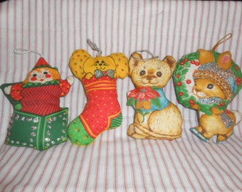 Four Vintage Cloth Ornaments With Glitter
