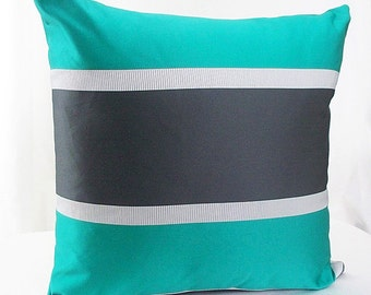Teal pillow cover, Teal and black pillows, Teal pillow, Teal throw pillow, Throw pillow teal, Teal and gray decor, Dark teal pillow brown