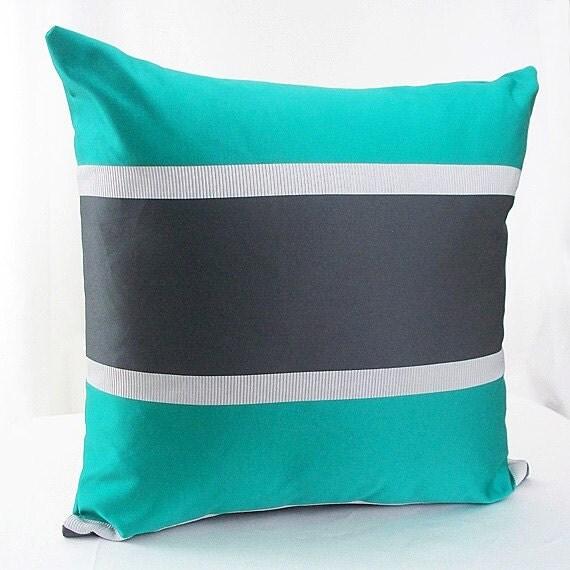 Teal pillow cover Teal and black pillows Teal pillow Teal
