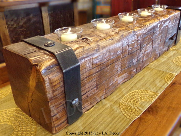 Reclaimed wood beam candle holder with large nail heads and for Reclaimed wood beams los angeles