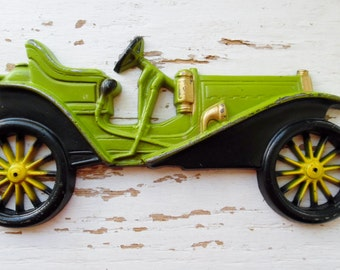 Car, Wall Plaque, Midwest Co, Cast Metal, Wall Hangings, Vintage, 1909 Hupmobile, Antique Looking Car, Wall Décor, Boy's Room, Avocado Green