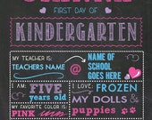 First Day of School Print. CHALK BOARD PRINT,Girl, 8x10, Personalized Printed Design