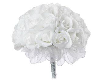 White Silk Rose Hand Tie (36 Roses) - Silk Bridal Wedding Bouquet