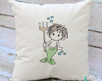 Embroidered Merman Pillow