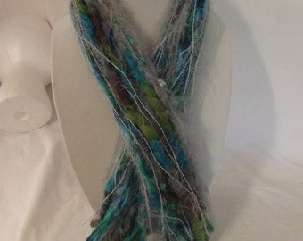 Blue green FRINGE SCARF, yarn scarf, Ribbon scarf, scarves made from ribbon and yarn, Beautiful and handmade Will add PIZAZZ to any wardrobe