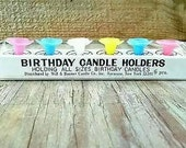 Plastic Pastel Color Cake Candle Holders Flower Top Birthday Cup Cake Set of 6 NOS Girls Boys