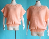 Vintage 80s Short Sleeve Sweater - Slouchy Peach Shirt - Boatneck Dolman Sleeve Top - Thick Loose Summer Sweater - Oversized Sweater
