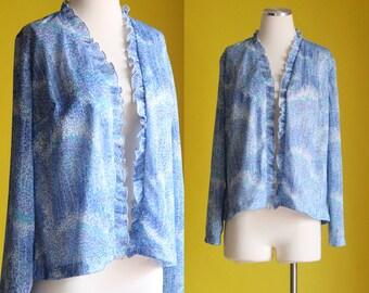 SALE: Vintage 70s Ruffle Trim Cardigan - Long Sleeve Polka Dot Abstract Tree Print Cardigan - Blue Polyester Blazer Shirt - Size Large / XL