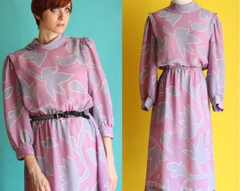 SALE: Vintage 80s Floral Dress - High Neck Midi Dress - Abstract Print Sheer Dress - Long Modest Dress - Purple Secretary Dress - Size M / L