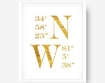 gold foil print inspirational print wall art print - Coordinates