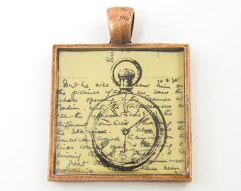 Pocket Watch Pendant, Steampunk Pendant, Clock Pendant Old Letter Collage Pendant, Gray Tan Copper Jewelry
