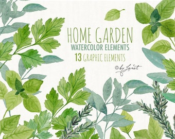 Home Garden - basil, sage, rosemary, parsley - digital image - clipart - PNG file