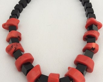 Coral and Onyx Necklace