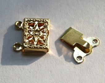 Gold Plated Filigree Double Strand Box Clasp