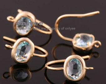 1pair/2pcs-12mmX7mm Gold plated Brass,Faceted Oval Glass Earring,setting hook earrings-Aqua(M383G-J)
