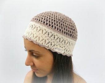 Iris - Summer Beanie HAT COTTON Hippie hat women summer hats beige Gypsy hats by Zaprix