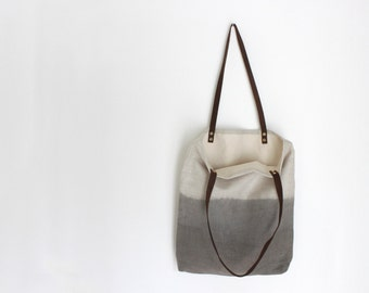 Linen Dip Dyed Tote - Grey
