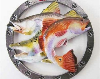 Painted ~ Gulf Slam Redfish, Snook, Speckled Trout ~ Holiday Ornament ~ SP033OR