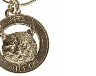 Pewter ~ Alley Cat Keychain ~ CK003