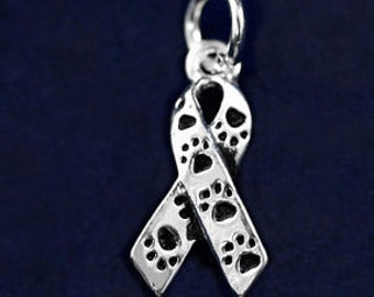100%  Animal Rescue Donation 20mm Beautiful Silver Plated Awareness Ribbon Charm - with Tiny Paw Prints